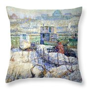 Lawson's Boathouse -- Winter -- Harlem River Throw Pillow