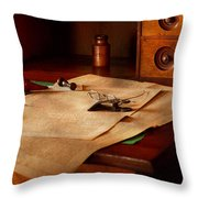 Lawyer - Optician - Reading The Fine Print  Throw Pillow by Mike Savad