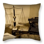 Lawyer - The Lawyer's Desk In Black And White Throw Pillow