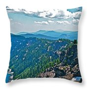 Layers Of Mountains From Watchman Overlook In Crater Lake National Park-oregon  Throw Pillow