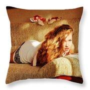 Laying On The Sofa 2 Throw Pillow