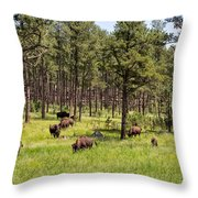 Lazily Grazing Bison Throw Pillow