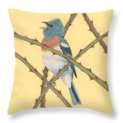 Lazuli Bunting Throw Pillow