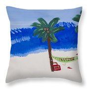 Lazy Beach Throw Pillow by Melissa Dawn