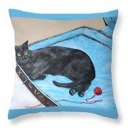 Lazy Black Cat Throw Pillow