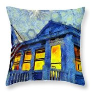 Lazy Daze Beach Cottage On Fourth Of July Throw Pillow