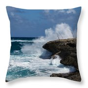 Lazy Fishing From The Rocks - No Fishermen Throw Pillow