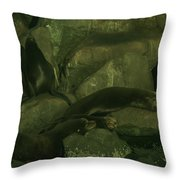 Lazy Sea Lions Throw Pillow by Jeff Swan