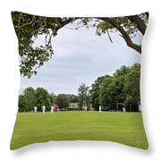 Lazy Sunday Afternoon - Cricket On The Village Green Throw Pillow
