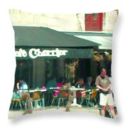 Le Cafe Cherrier Bistro Bar Au Coin Rue St Denis Montreal Terrace Restaurant Scene Carole Spandau Throw Pillow