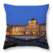 Le Louvre Palace Buildings And Pyramids Throw Pillow