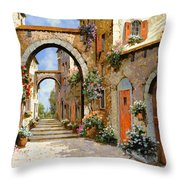 Le Porte Rosse Sulla Strada Throw Pillow by Guido Borelli