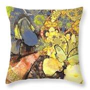 Le Printemps Des Papillons Throw Pillow
