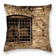 Leaded Glass Window In Sepia Throw Pillow