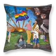Leading Obama Left Throw Pillow by Mark Robbins