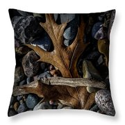 Leaf And Stones Throw Pillow