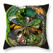 Leaf Collage Orb Throw Pillow