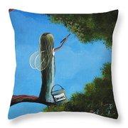 Leaf Fairy By Shawna Erback Throw Pillow by Shawna Erback