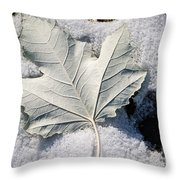 Leaf In Snow Throw Pillow