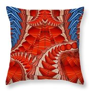 Leaf Pattern In Red Throw Pillow