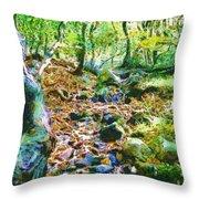 Leaf Stream Throw Pillow