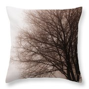 Leafless Tree In Fog Throw Pillow by Elena Elisseeva