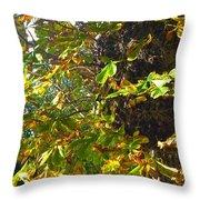Leafy Tree Bark Image Throw Pillow