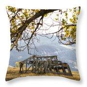 Lean To - Mormon Row - Grand Tetons Throw Pillow