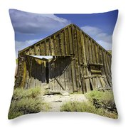 Leaning Barn Of Bodie California Throw Pillow