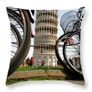 Leaning Bicycles Of Pisa Throw Pillow