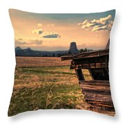 Leaning In To Devil's Tower Throw Pillow