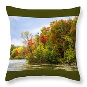 Leaning Into Autumn Throw Pillow