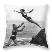 Leap Into Life Guard's Arms Throw Pillow