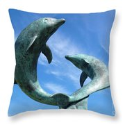 Leaping Dolphins In The Isles Of Scilly Throw Pillow