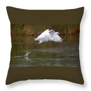 Leaping Egret Throw Pillow