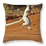Leaping Lemur Throw Pillow