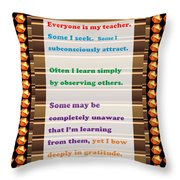 Learning Observation Teacher Student Gratitude Background Designs  And Color Tones N Color Shades Av Throw Pillow