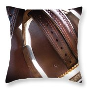 Leather And Iron Throw Pillow