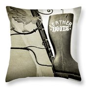 Leather Boots Throw Pillow