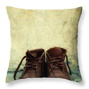 Leather Children Boots Throw Pillow