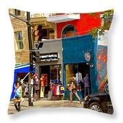 Leather Garments Cuir Monde Mont Royal Scala Pour Hommes Busy Montreal City Scene Carole Spandau  Throw Pillow