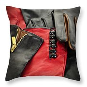 Leather Gloves Throw Pillow