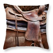 Leather Throw Pillow by Kelley King