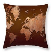 Leather World Map Throw Pillow