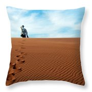 Leave Only Footprints Behind.. Throw Pillow
