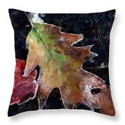 Leaves And Frost Throw Pillow