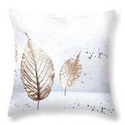 Leaves In Snow Throw Pillow