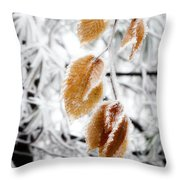 Leaves In The Frost Throw Pillow