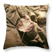 Leaves In The Sand Throw Pillow