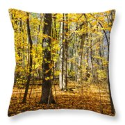 Leaves In The Woods Throw Pillow